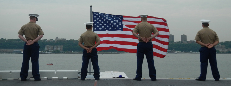 Marines and the American Flag