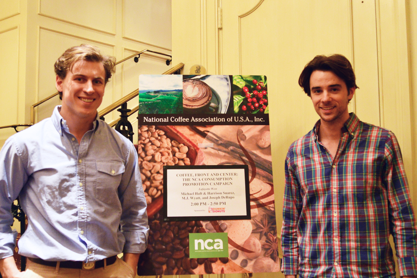 Michael Haft and Harrison Suarez before speaking at the National Coffee Association
